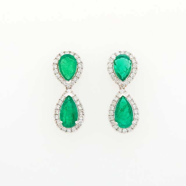Pair of White Gold, Diamond and Emerald Pendant-Earrings