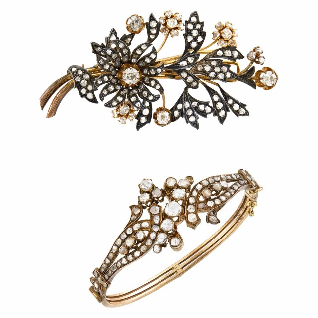 Antique Gold, Silver and Diamond Bracelet and Floral 'En Tremblant' Clip-Brooch