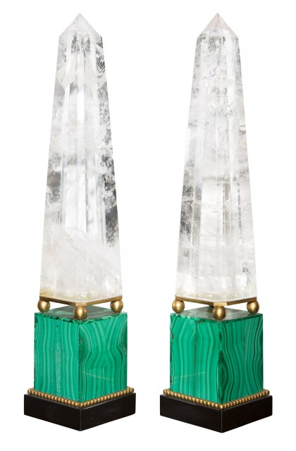 Pair of Russian Neoclassical Style Rock Crystal and Malachite Obelisks
