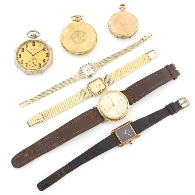 Vermeil 'Tank' Wristwatch, Must de Cartier, Three Pocket Watches and Three Metal Wristwatches