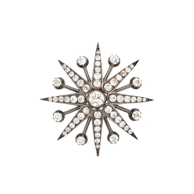 Antique Silver, Gold and Diamond Star Pendant-Brooch