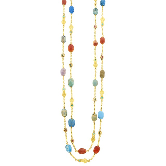 Long Egyptian Revival Gold and Hardstone Scarab Chain Necklace, France