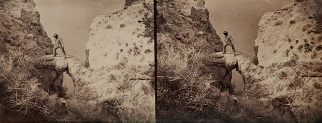 O\'SULLIVAN, TIMOTHY H.  Group of three unseparated stereo pairs by O\'Sullivan, probably from the 1868 year of the Fortieth Parallel Survey under Clarence King.