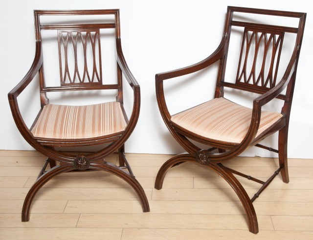 Pair of Regency Style Mahogany Armchairs