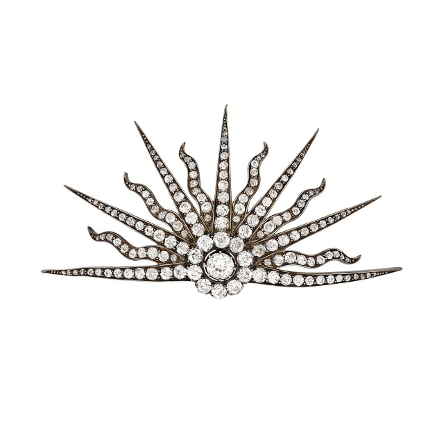 Antique Silver, Gold and Diamond Sunburst Brooch