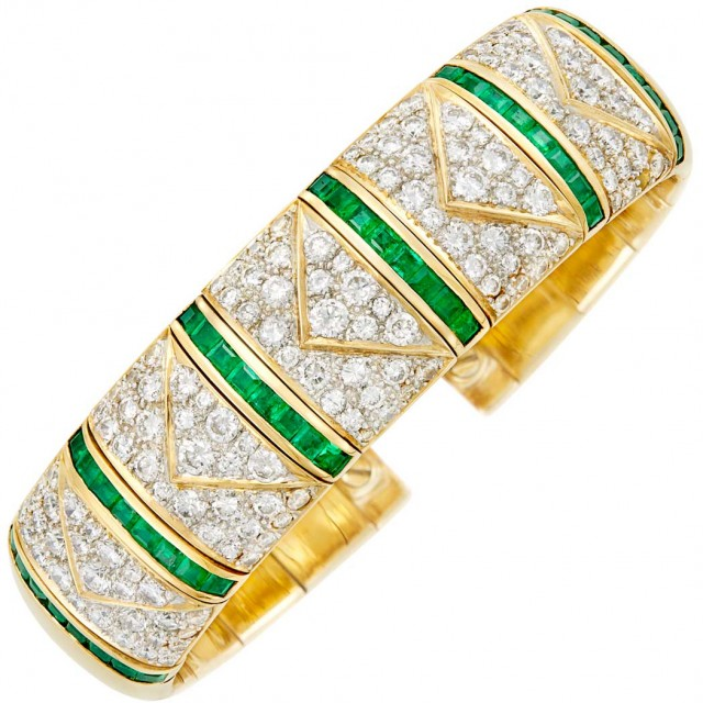 Two-Color Gold, Diamond and Emerald Bangle Bracelet