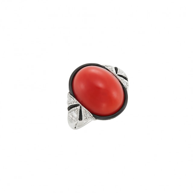 Art Deco Platinum, Coral, Black Onyx, Diamond and Enamel Ring