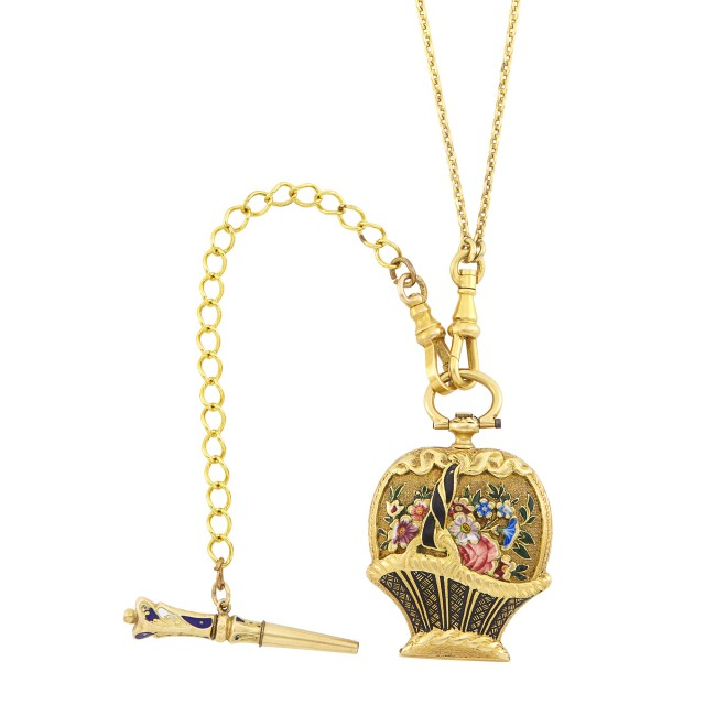 Antique Gold and Double-Sided Enamel Bouquet Pendant-Watch with Long Chain Necklace and Key Fob