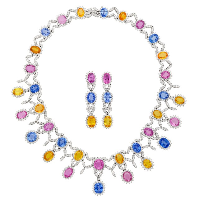 White Gold, Multicolored Sapphire and Diamond Necklace and Pair of Earclips