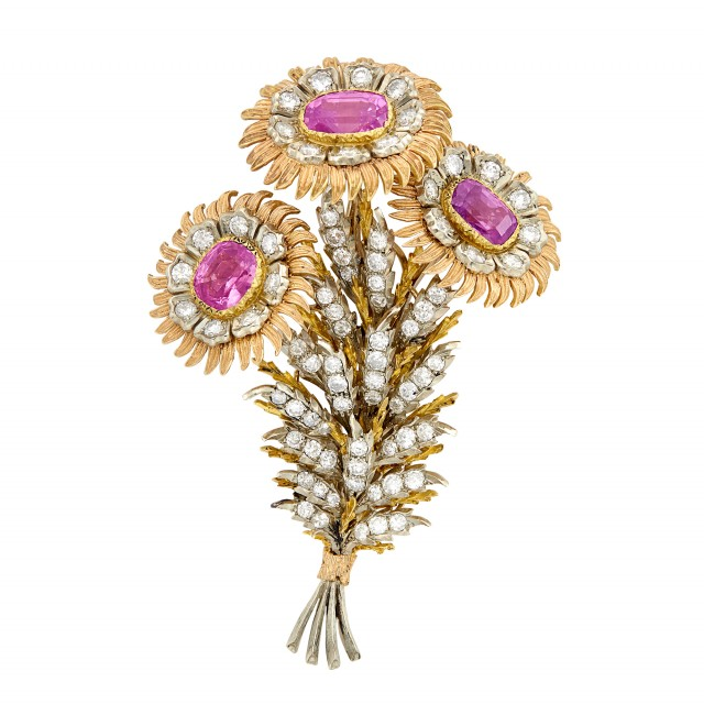 Tricolor Gold, Pink Sapphire and Diamond Flower Clip-Brooch, Buccellati