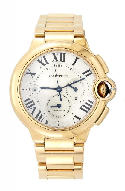 Mans Gold Bracelet Watch, 33 Jewels, Cartier Ballon Bleu, Chronograph, Automatic, 18K 145 dwt. all