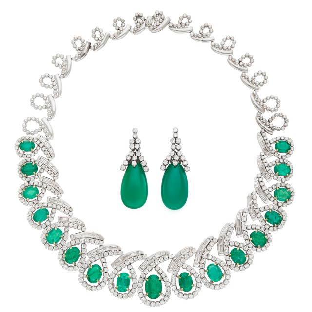 White Gold, Emerald and Diamond Necklace and Pair of Green Onyx and Diamond Pendant-Earrings