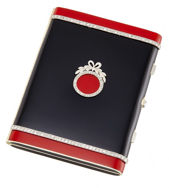 Cartier Enameled Gold and Jeweled Platinum Mounted Vanity Case