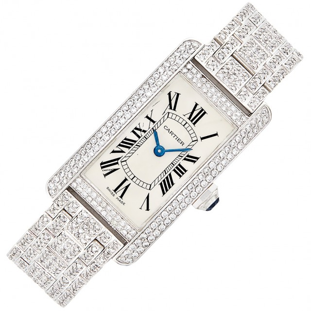 "White Gold and Diamond ""Tank Americana"" Wristwatch, Cartier"