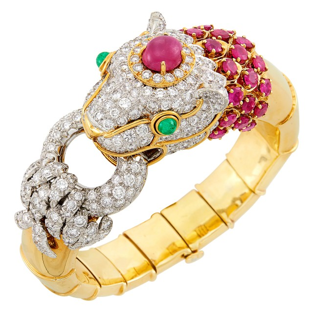 Gold, Platinum, Diamond and Ruby Lioness Bangle Bracelet, David Webb