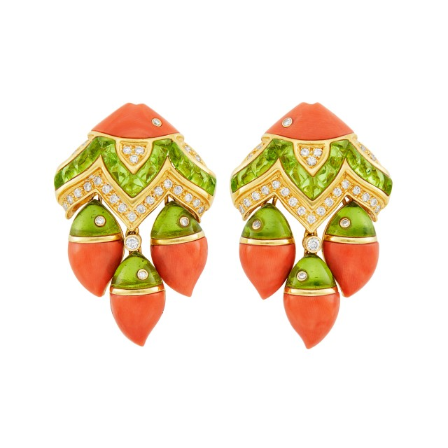 Pair of Gold, Coral, Cabochon Peridot and Diamond Fish Earclips