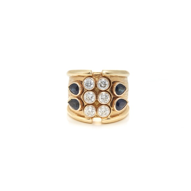 Wide Gold, Sapphire and Diamond Ring
