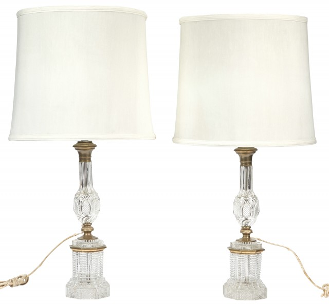 Pair of Brass-Mounted Cut Glass Lamps