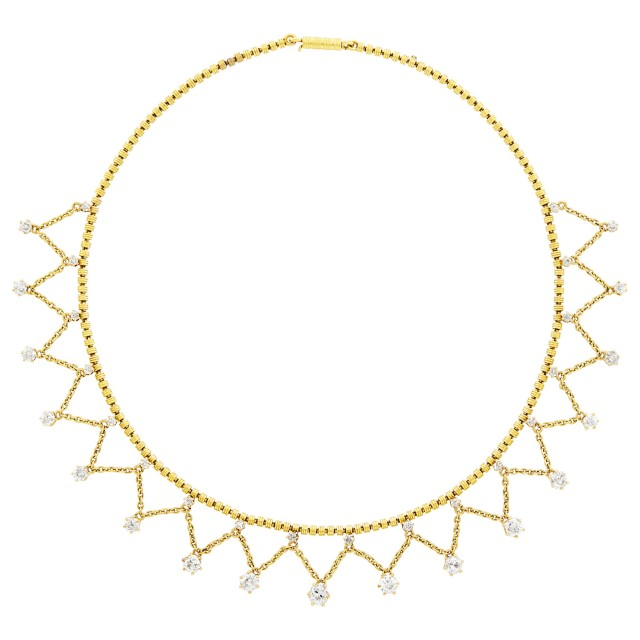 Antique Gold and Diamond Fringe Necklace