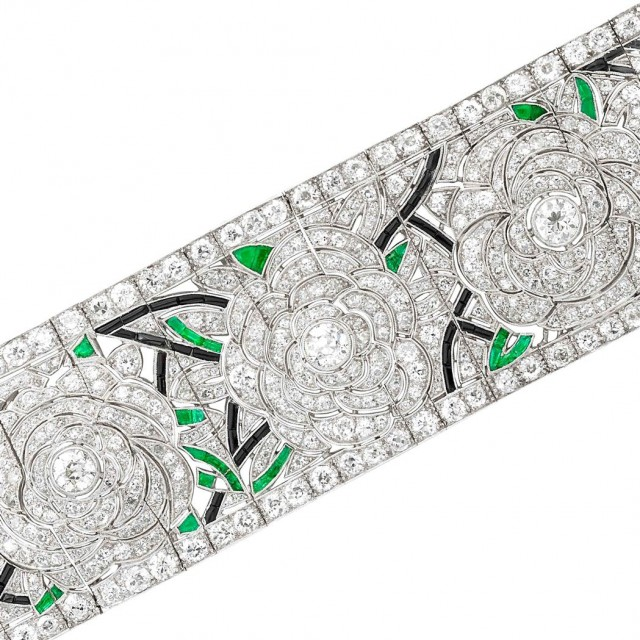 Wide Platinum, Diamond, Emerald and Black Onyx Bracelet, Vienna