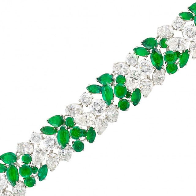Platinum, Diamond and Emerald Bracelet, Oscar Heyman Bros. for Van Cleef & Arpels