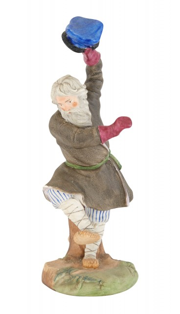 Russian Biscuit Porcelain Figure of a Dancing Peasant Man