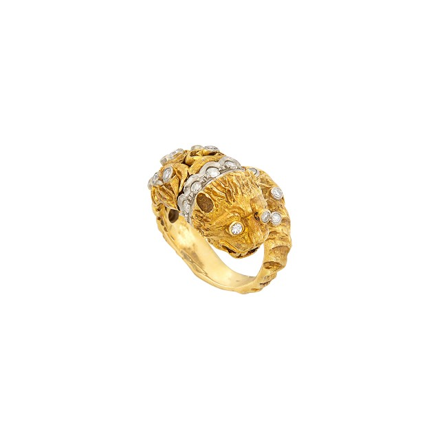 Two-Color Gold and Diamond Chimera Crossover Ring, Zolotas