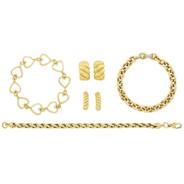 Pair of Gold Earclips, Pomellato, Gold Hoop Earclips and Three Bracelets