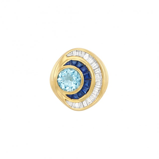Gold, Aquamarine, Sapphire and Diamond Ring
