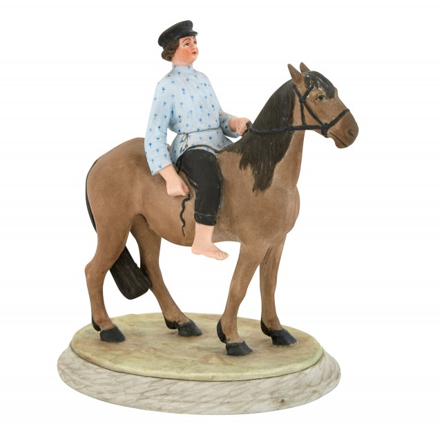 Russian Porcelain Group of a Boy on Horseback