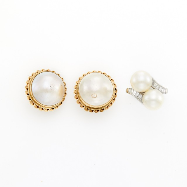 Platinum, Cultured Pearl and Diamond Bypass Ring and Pair of Gold and Mabé Pearl Earclips