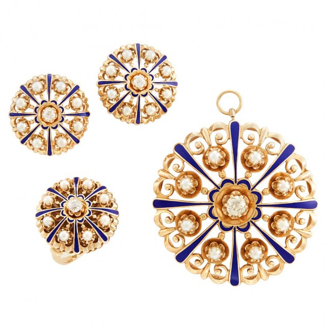 Suite of Gold, Enamel, Cultured Pearl and Diamond Jewelry