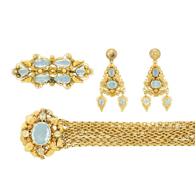 Group of Antique Gold, Aquamarine and Chrysoberyl Jewelry