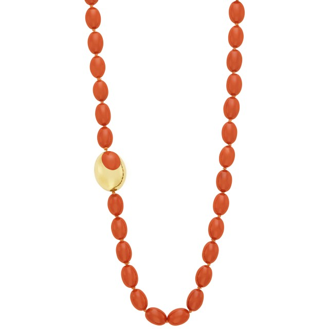 Long Carnelian and Gold and Inlaid Carnelian Bead Necklace, Tiffany & Co.