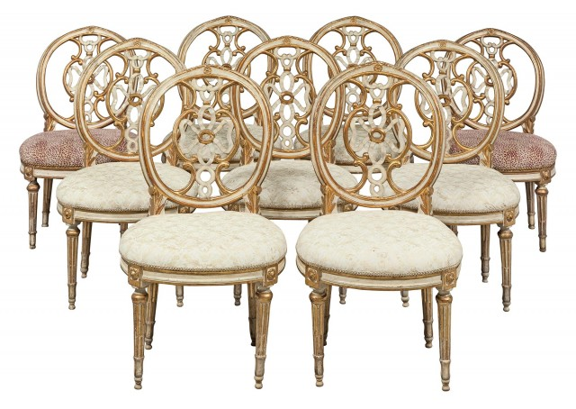 Assembled Set of Nine Italian Neoclassical Painted and Parcel-Gilt Side Chairs