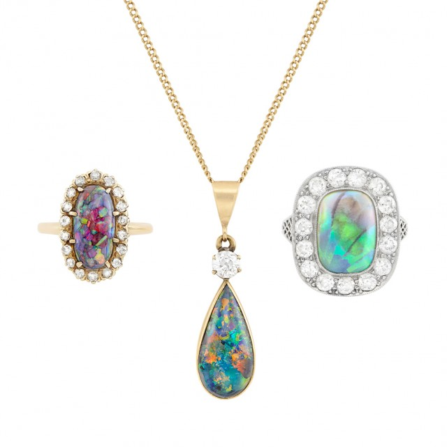 Two Platinum, Gold, Opal and Black Opal and Diamond Rings and Gold, Black Opal and Diamond Pendant with Chain