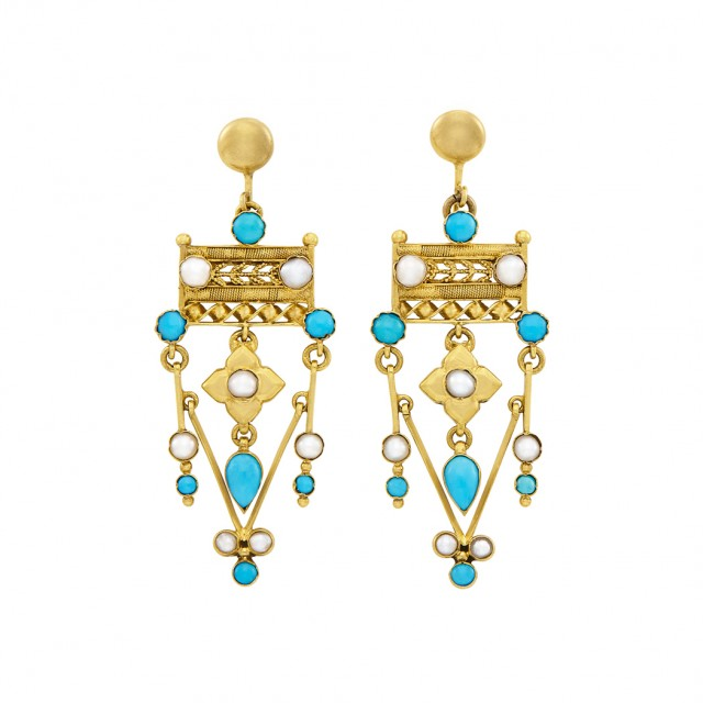 Pair of Antique Gold, Low Karat Gold, Turquoise and Split Pearl Pendant-Earrings