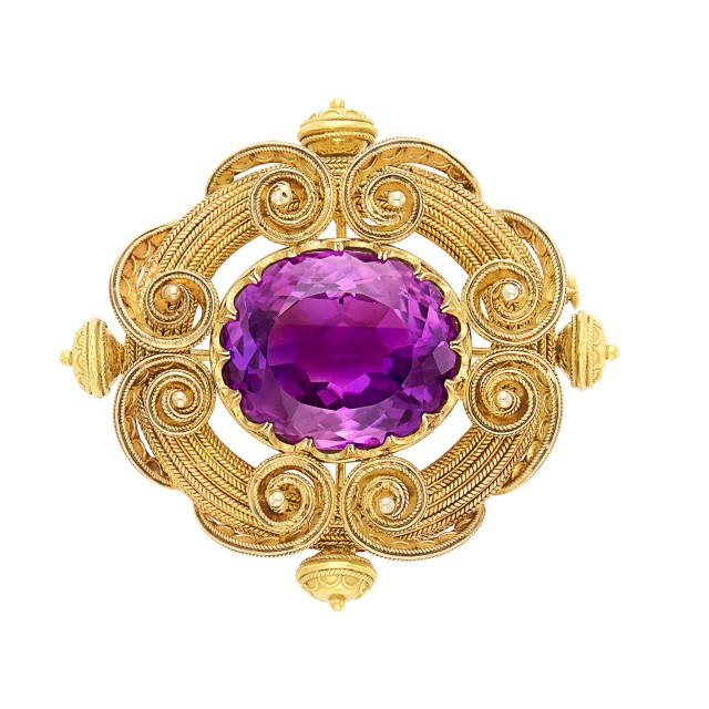Antique Gold and Amethyst Brooch
