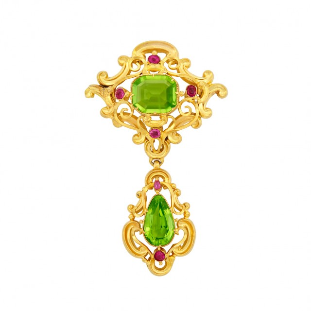 Antique Gold, Peridot and Ruby Pendant-Brooch