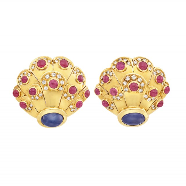 Pair of Gold, Cabochon Sapphire and Ruby and Diamond Earclips, Gubelin