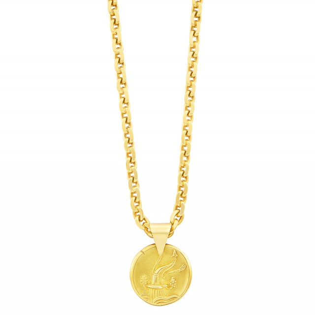 Gold Aquarius Pendant, Van Cleef and Arpels, France, with Gold Chain Necklace