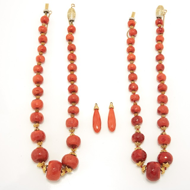 Two Coral and Gold Bead and Diamond Necklaces and Pair of Earring Jackets