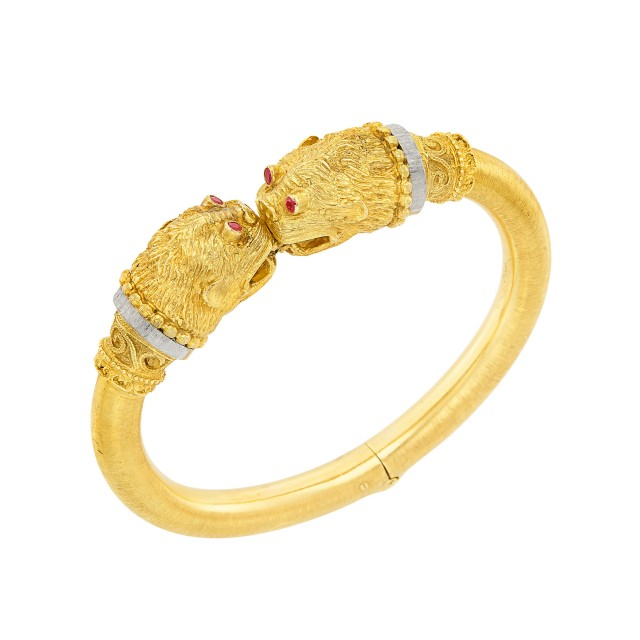 Two-Color Gold and Ruby Bangle Bracelet