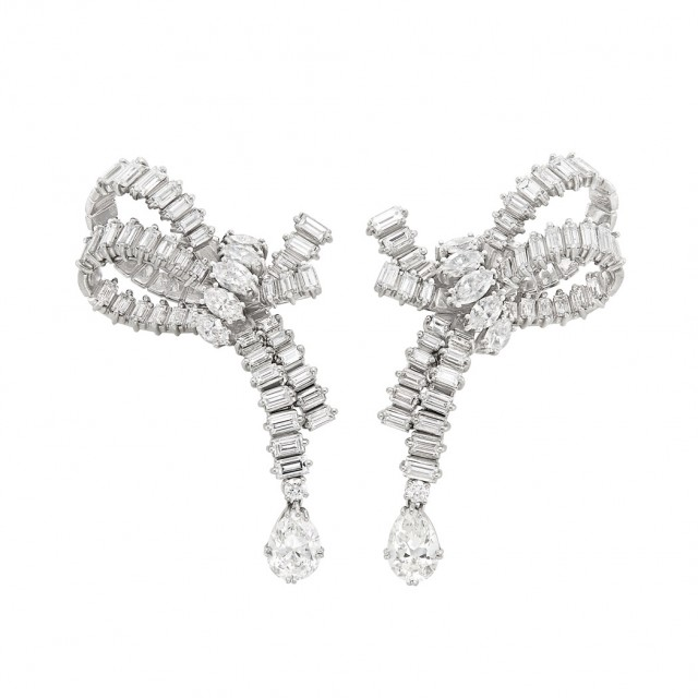 Pair of Platinum and Diamond Earclips, Cartier