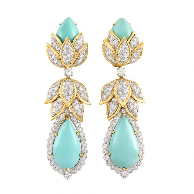 Pair of Gold, Platinum, Turquoise and Diamond Pendant-Earclips, David Webb