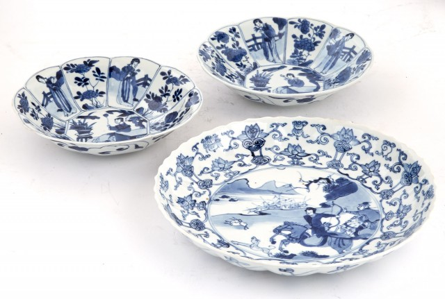 Three Chinese Blue and White Glazed Porcelain Dishes