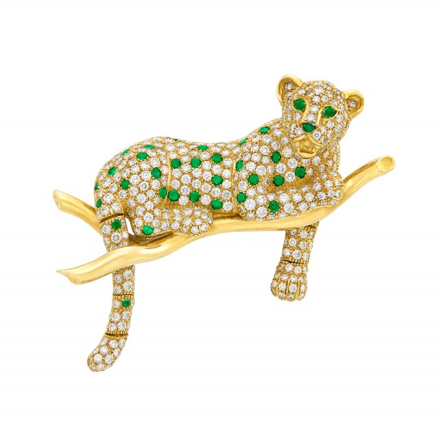 Gold, Diamond and Emerald Leopard Clip-Brooch