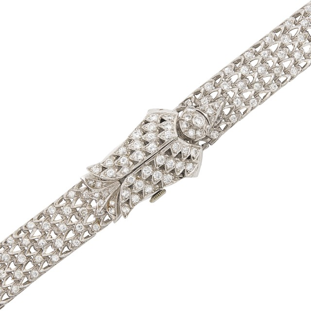 Platinum and Diamond Bird Bracelet-Watch