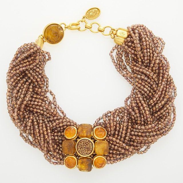 Chanel Gilt-Metal, Glass Intaglio and Faceted Glass Bead Braided Torsade Necklace