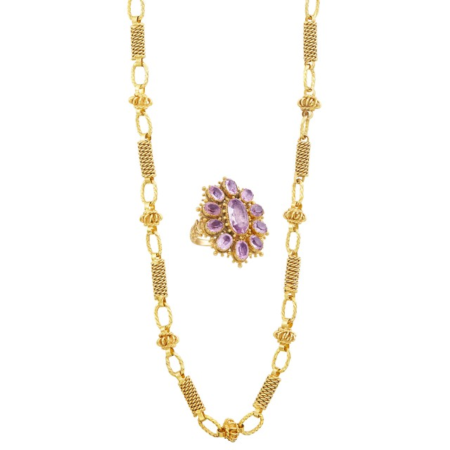 Gold Chain Necklace and Georgian Gold and Pink Topaz Ring